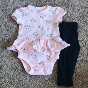 Carters Pink & Black Outfit